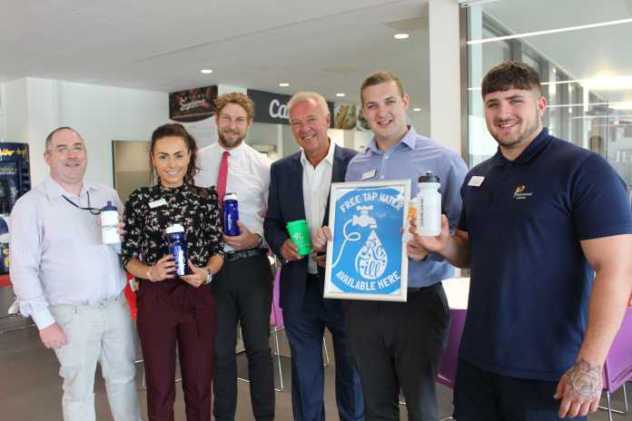 Parkwood Leisure staff at Rushcliffe Arena join Leader of the Council Cllr Simon Robinson with their reusable cups