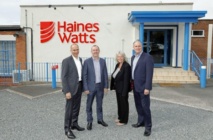 David Kaplan left pictured outside the Haines Watts Stapleford office with directors from left Mark Roe Diane Lockwood and Martin Bowles resized