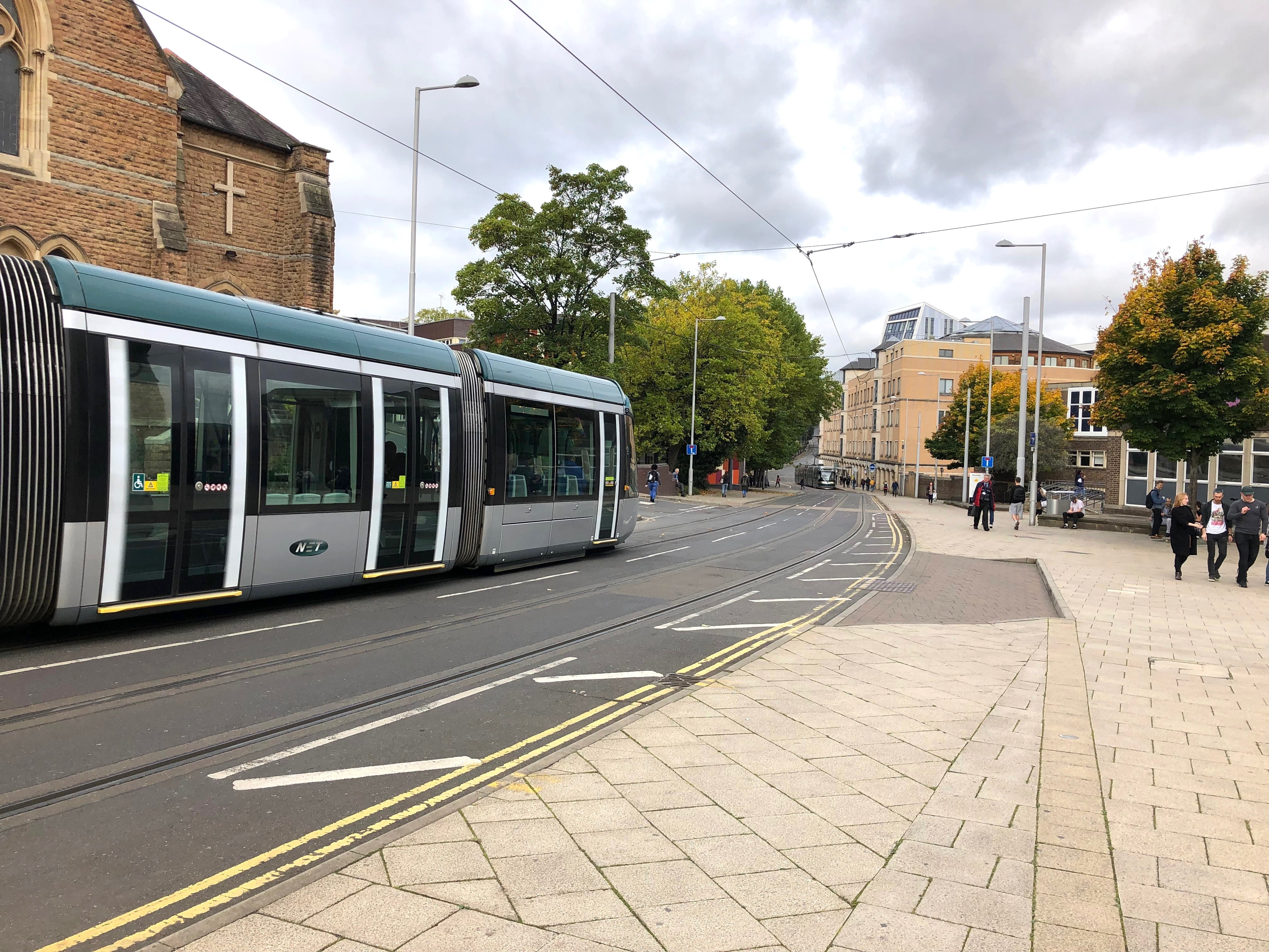 A NET tram at Nottingham Trent University - single student fares rise for £1.00 to £1.50 on October 1, 2018 Picture: © westbridgfordwire.com