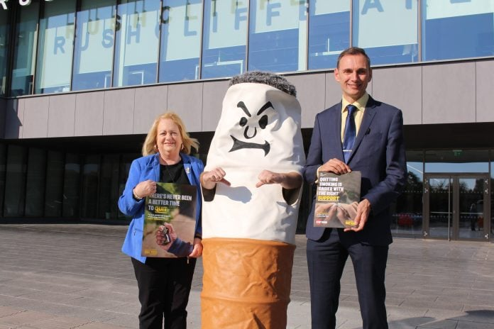 Cllr Debbie Mason and Dr Jeremy Griffiths support the Stoptober campaign...