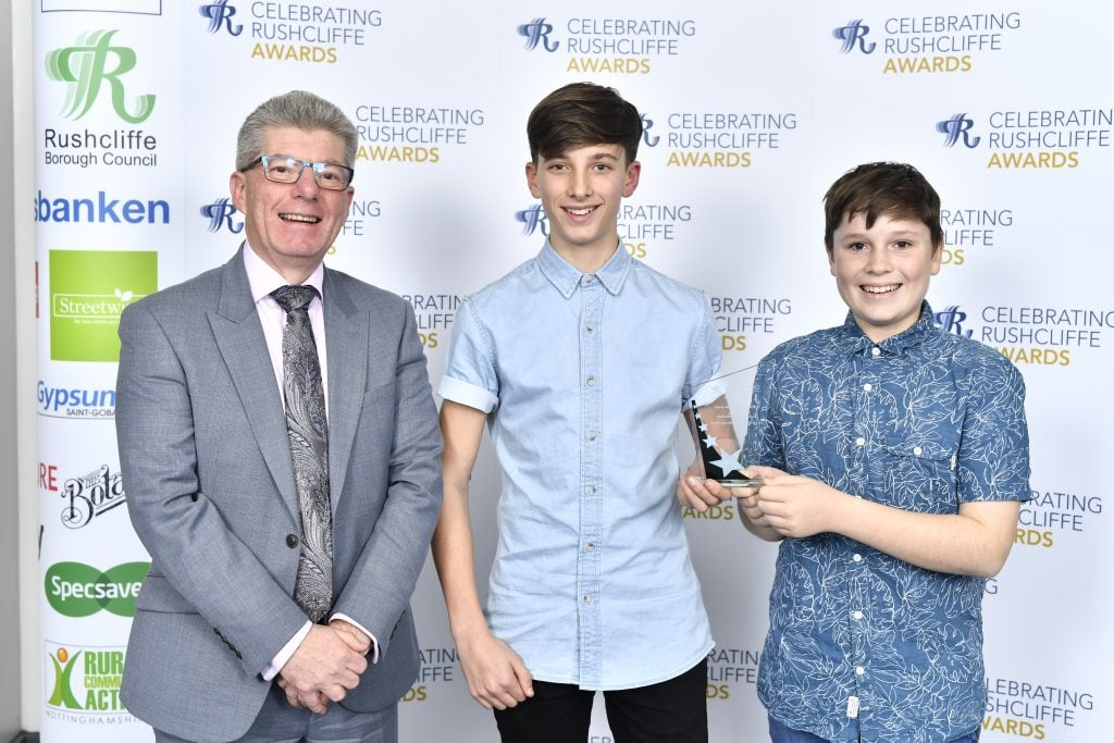 RBC Chief Exec Allen Graham presented Lewis Graham and Alex Lamb from West Bridgfordians with Sports Team of the Year