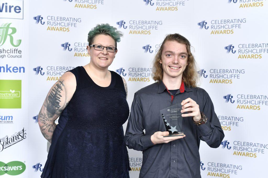 Samuel Mark won the Young Environmentalist of the Year award presented by Heidi Barnard from British Gypsum