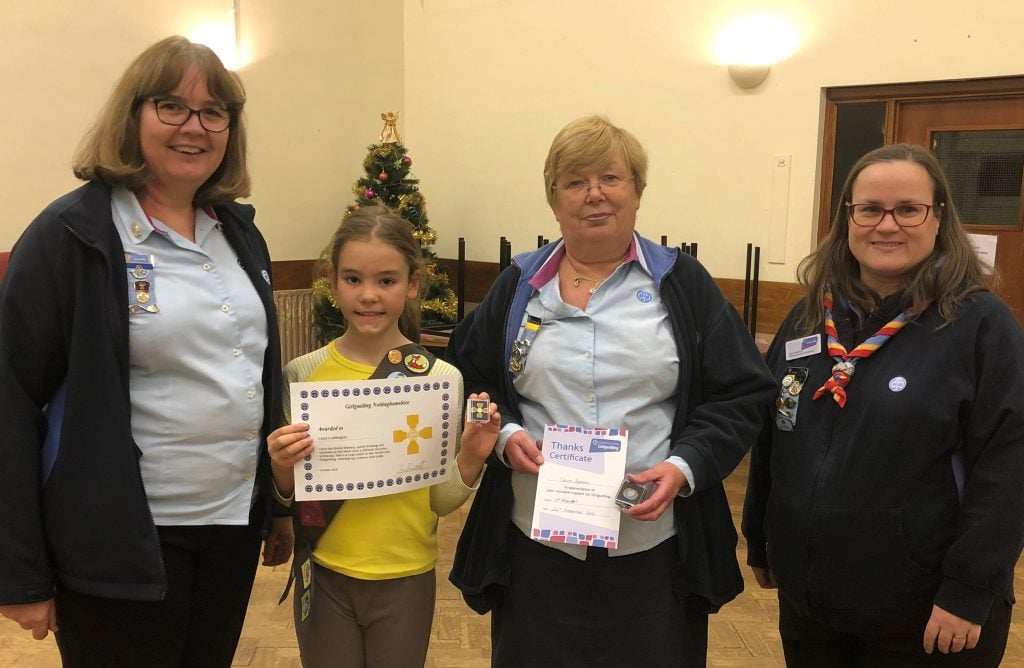 L-R, Girlguiding Nottinghamshire's County Commissioner Jackie Brocklehurst, Brownie Clara Cuddington, Brown Owl Claire Spencer and Division Commissioner Emma Robertson.