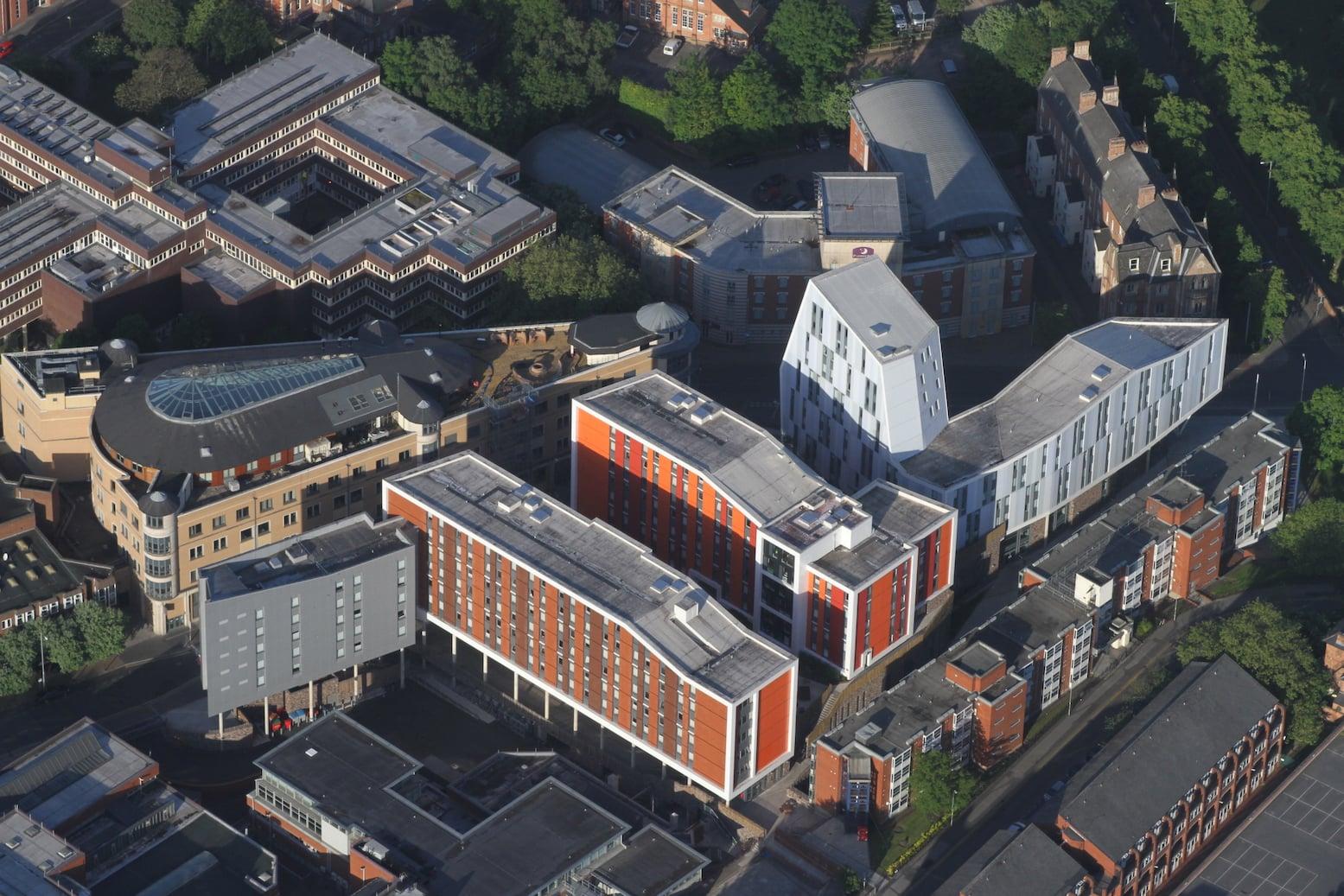 Nottingham Trent University buildings at jn of Shakespeare St & Goldsmith St - photo Robin Macey