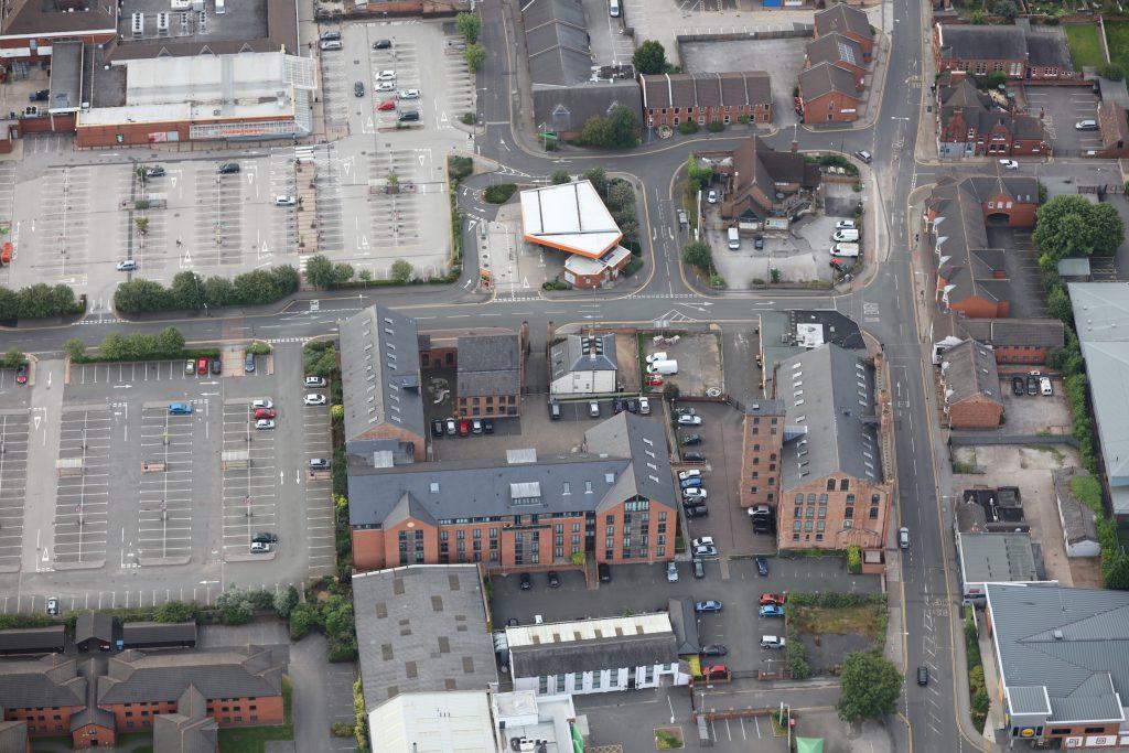 Beeston - jn of Wollaton rd (RHS) & Albion St. Sainsburys at top LH corner - photo Robin Macey