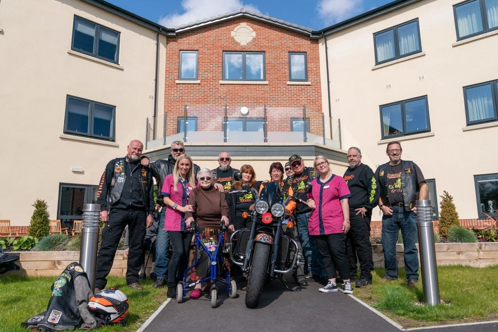 The bikers and Dorothy Stapleton at Ruddington Manor SMALL