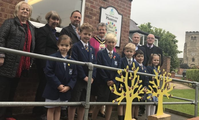 L-R Deputy leader of Rushcliffe Borough Council, Cllr Debbie Mason, Nottinghamshire County Council leader Cllr Kay Cutts, Deputy Parish Chairman, Cllr Jonnie Richards, Parish Chairman, Cllr Mike Bylina and County Councillor John Cottee ( Committee and Place committee chairman) and children from the local Plumtree School