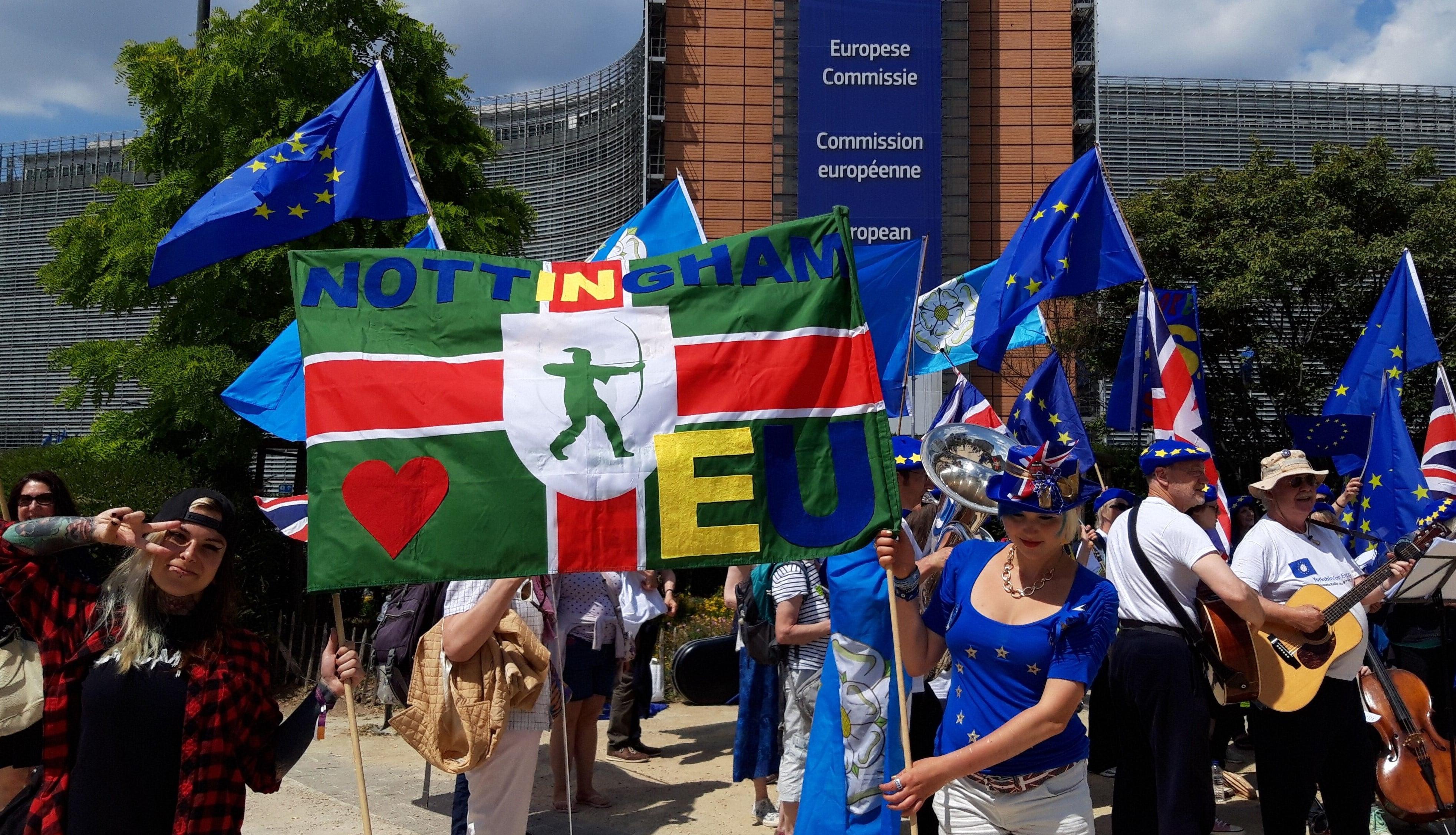 Madeleina Kay holds Nottingham banner