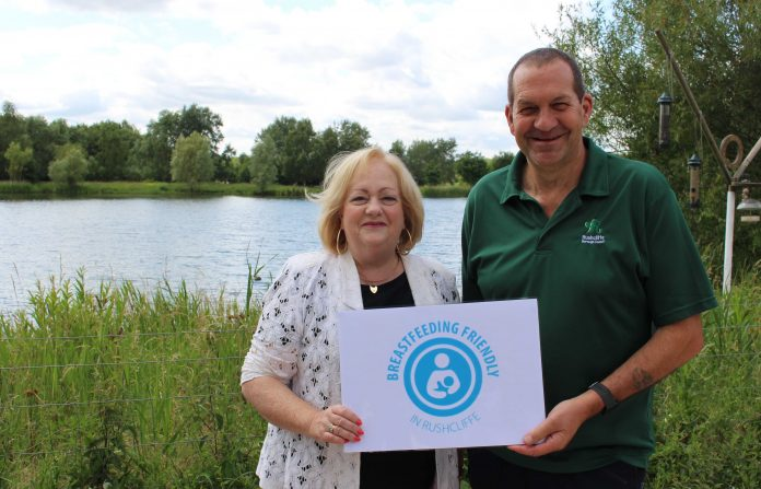 Rushcliffe Borough Councils Deputy Cllr Debbie Mason and Manager Keith Laing at the Country Park