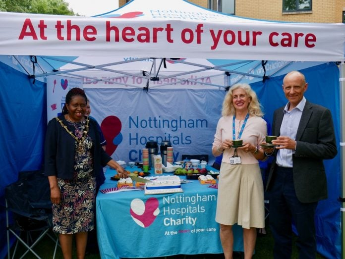 Sheriff of Nottingham Patience Ifediora with Barbara Cathcart Chief Executive of Nottingham Hospitals Charity and Nigel Gregory Director of Development