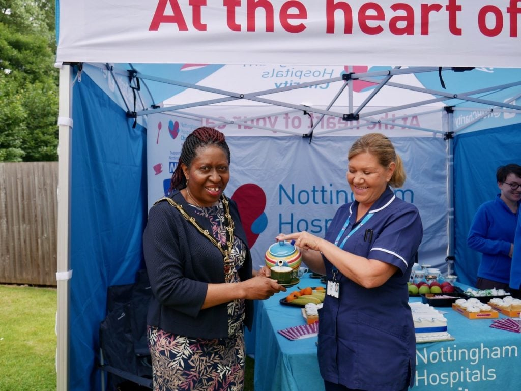 Sheriff of Nottingham Patience Ifediora with NUH Gynaecology Ward Sister Debbie Raffle