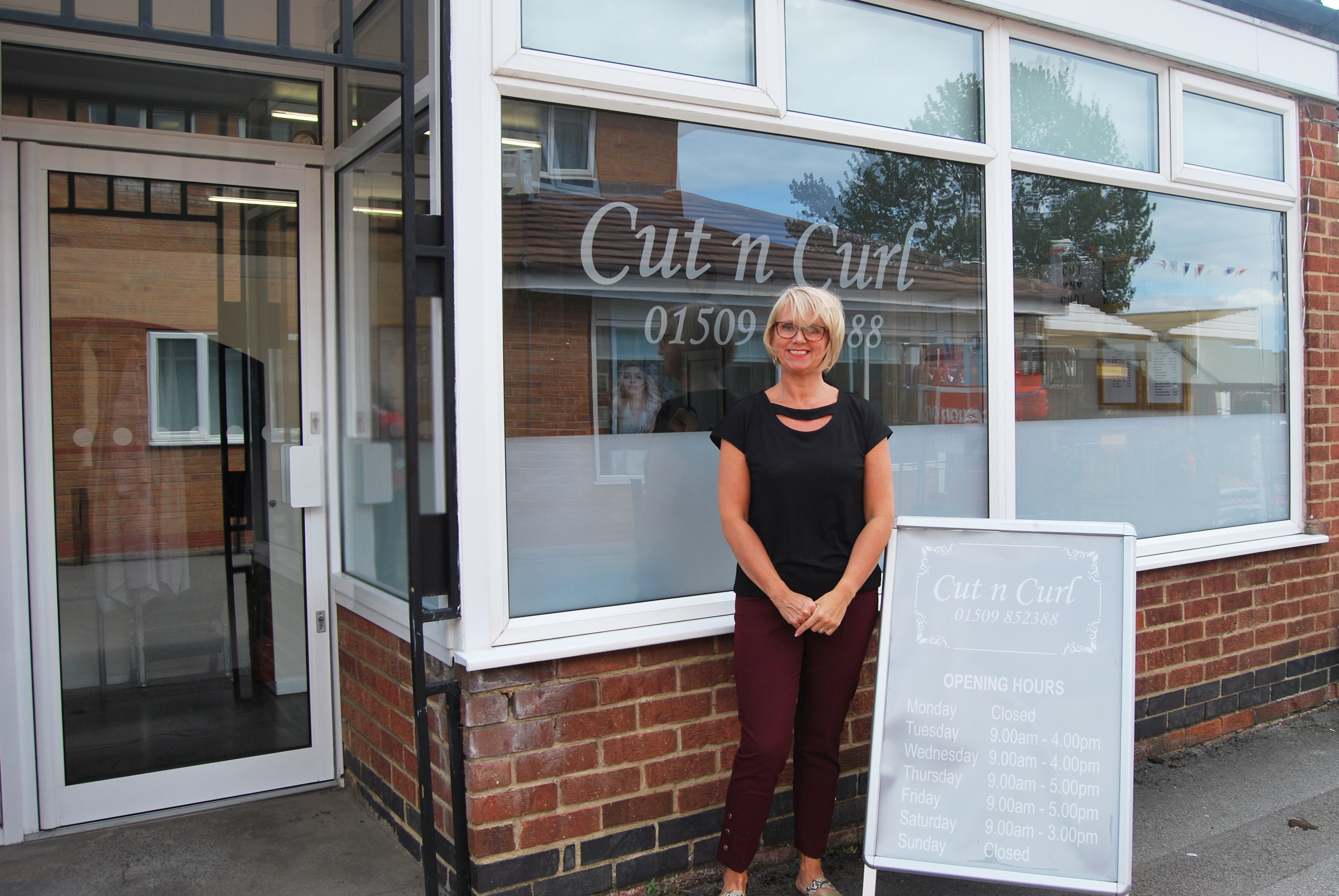 Cut N Curls Alison Cundell was pleased with the new installations at the front of the East Leake business.