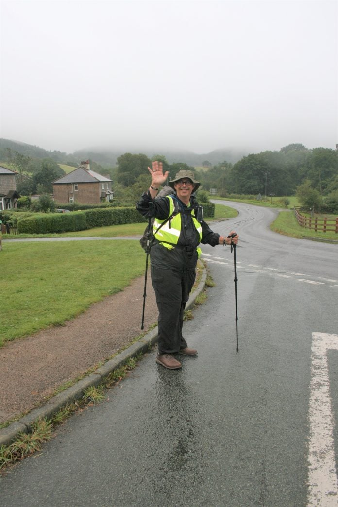 Andrew Johnson setting off on his 165 mile walk from Llanwddyn to Nottingham 1 1