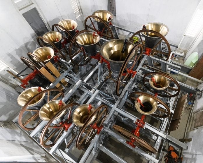 Thirteen bells cast at Loughborough Bellfoundry are now in place in Singapore