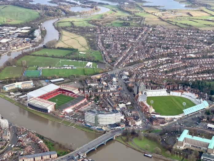 © westbridgfordwire.com The City Ground and Trent Bridge Cricket Ground - Trent Bridge and the river swollen with water snaking up to Holme Pierrepont