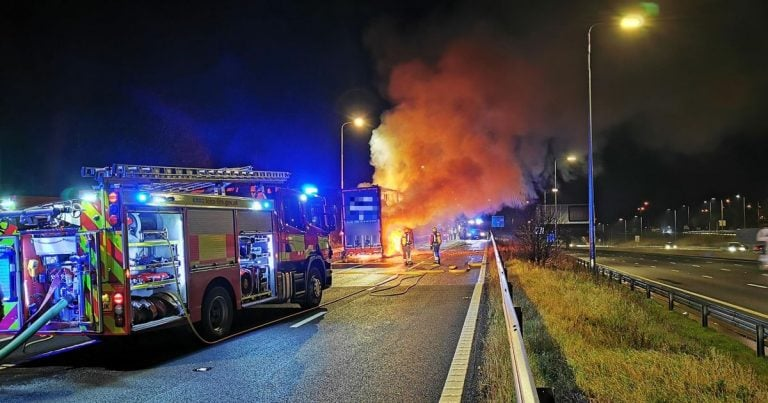 M1 J25: Huge truck fire closes exit slip – smoke blowing across carriageways