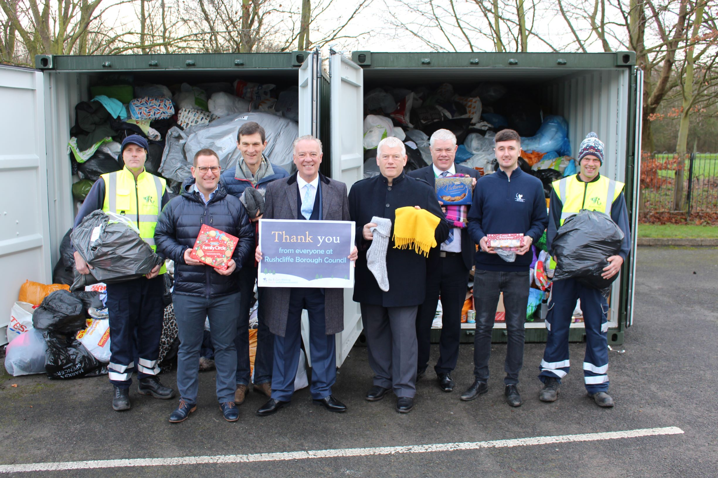 Partners co ordinated an effort to collect an astonishing amount of food and clothes from Rushcliffe residents