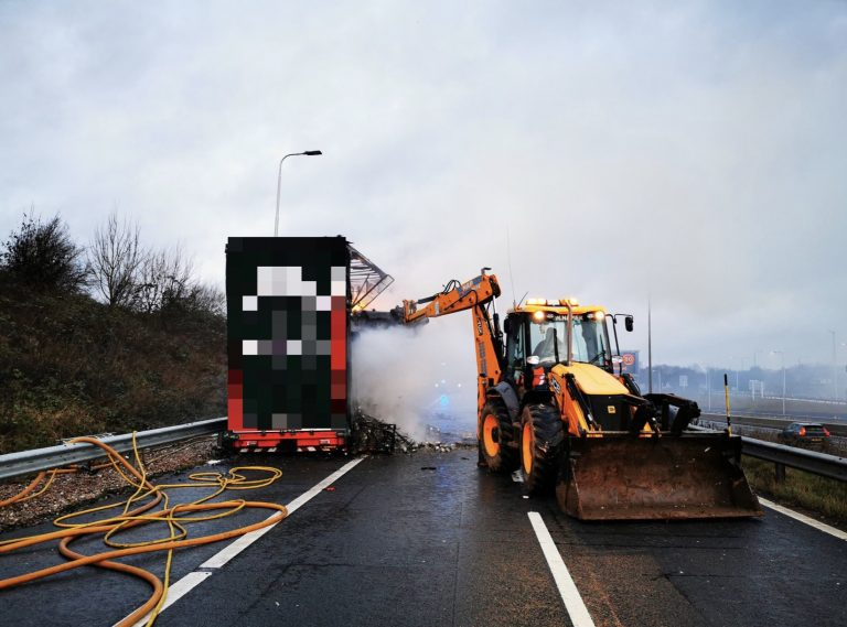 More pictures from the scene of M1 lorry blaze