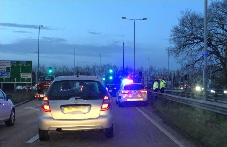 Delays on A52 westbound- broken down vehicle at Bardills island
