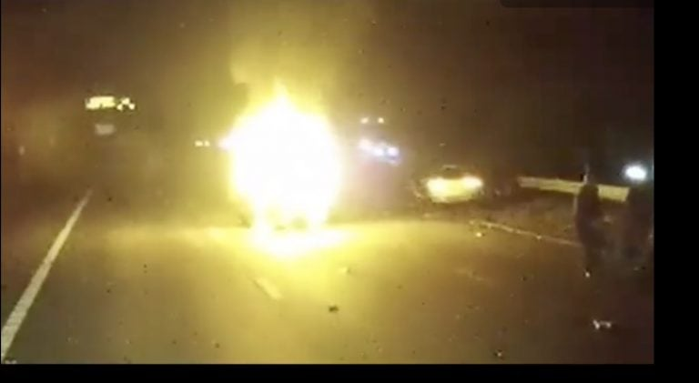 Video: Brave lorry driver saves woman from car fire just before it explodes