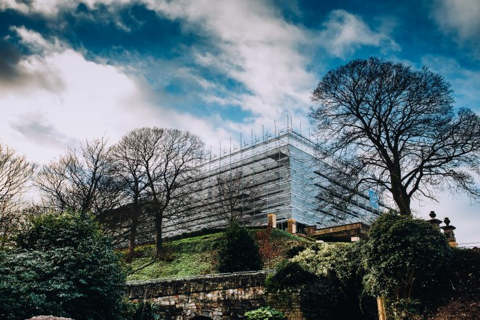 Scaffolding at Nottingham Castle 2019