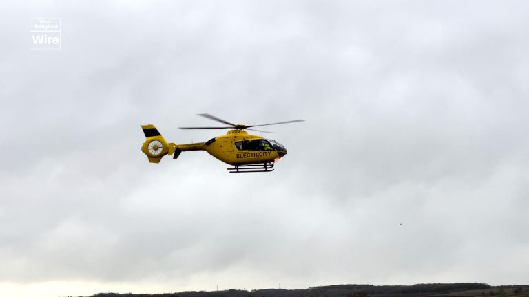 Western Power Distribution helicopter in Nottinghamshire checking overhead cables