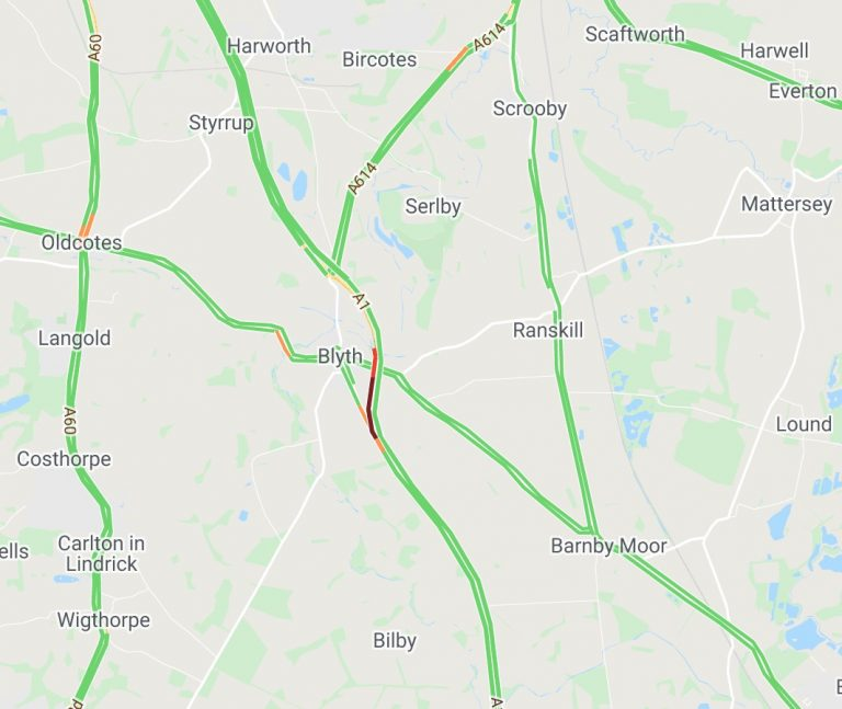 A1 northbound in Notts closed after collision – see diversion