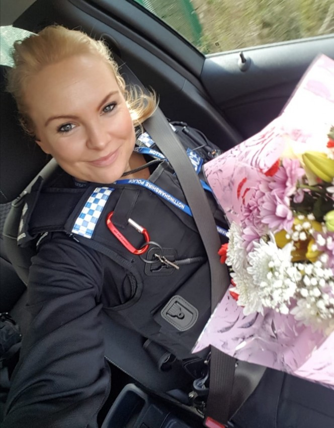 Notts police inspector touched to receive flowers and this thank you note