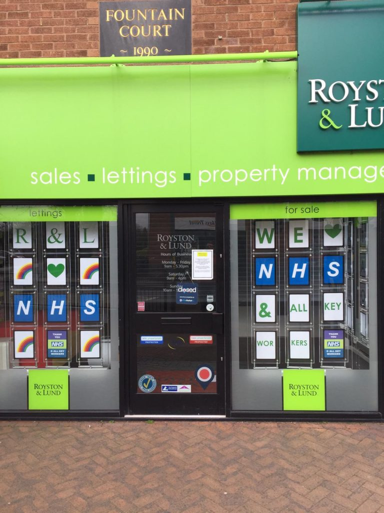 West Bridgford estate agent decorates windows for NHS and key workers