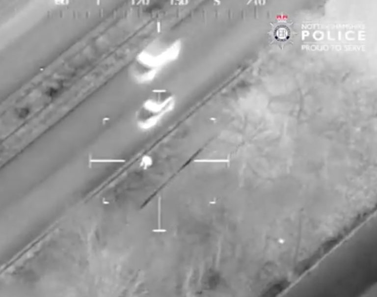 Video: Shoeless burglar pursued across A52 in Notts by helicopter