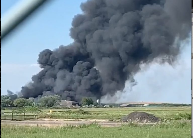 BREAKING: Huge blaze at Langar Airfield – 15 fire crews attend the scene
