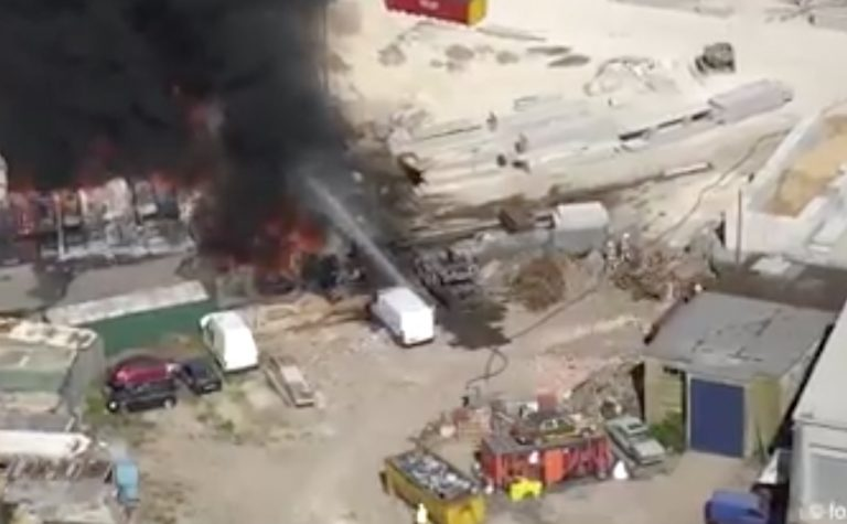 Incredible drone footage emerges of Langar Airfield blaze