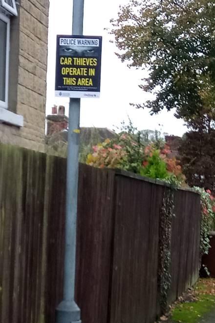 Vehicle crime sign
