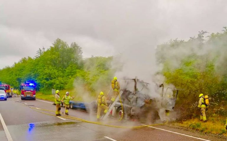Fire Service release shocking pictures of A42 lorry fire – and warn against mobile phone use while driving