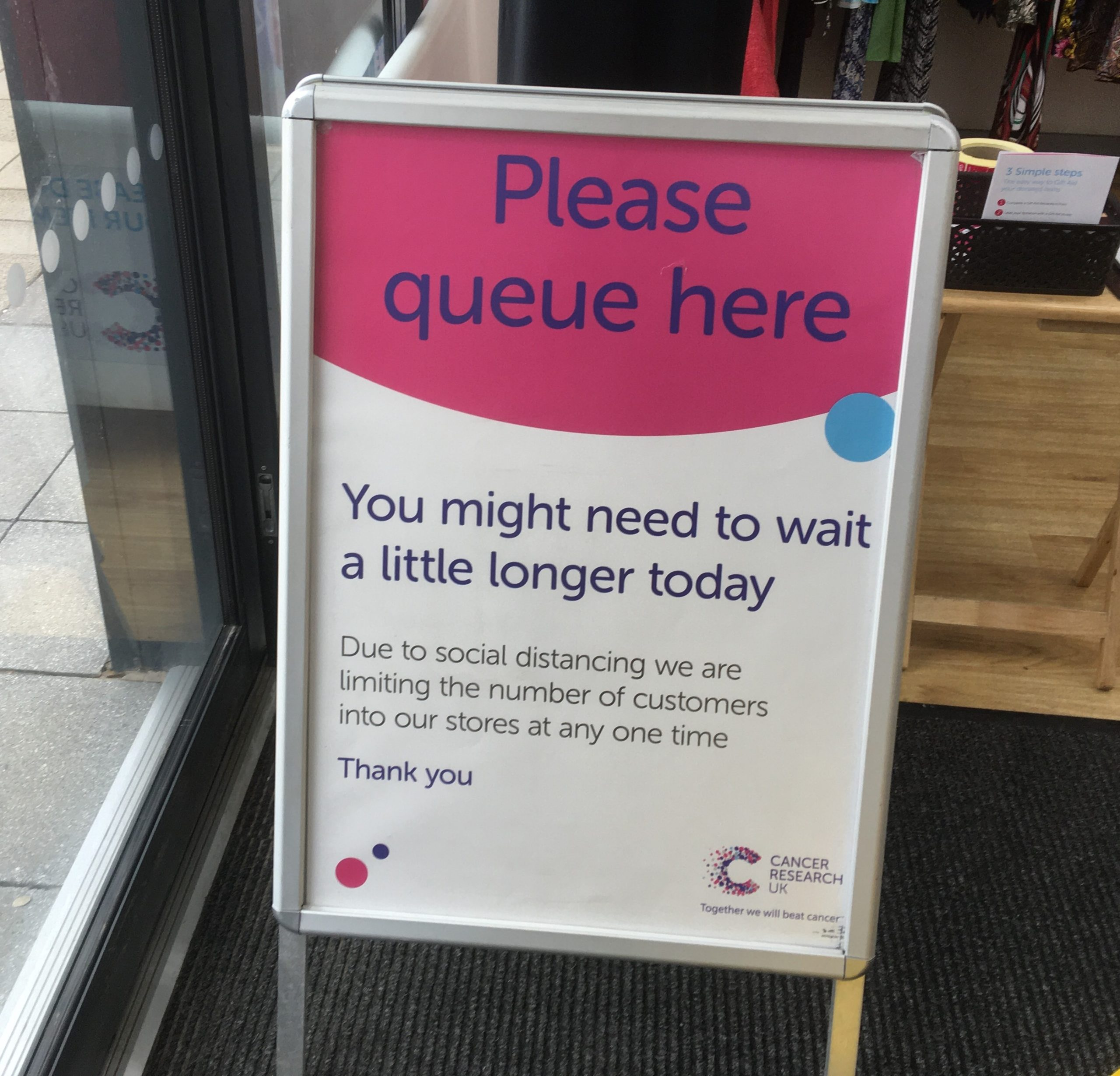 Cancer Research UK Safe Entry Sign scaled
