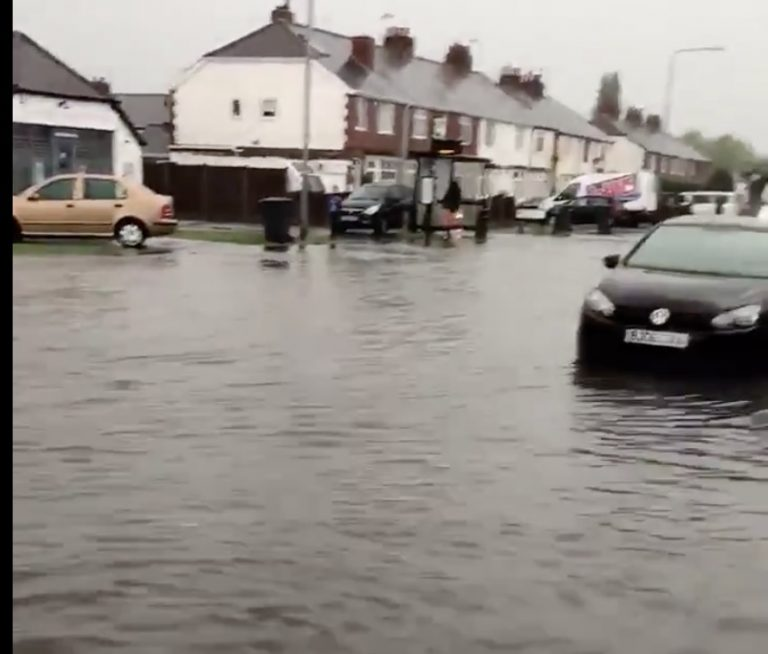 Video emerges of flooded roads in Ruddington