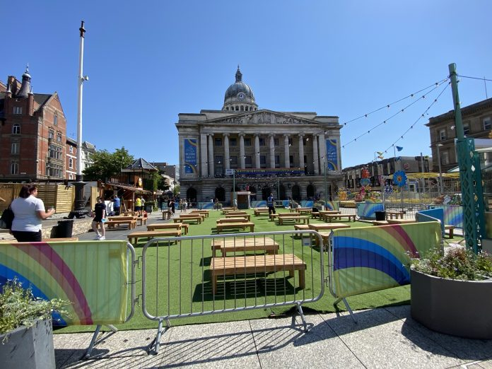 Pictures: Nottingham's Old Market Square prepares for alfresco dining experience