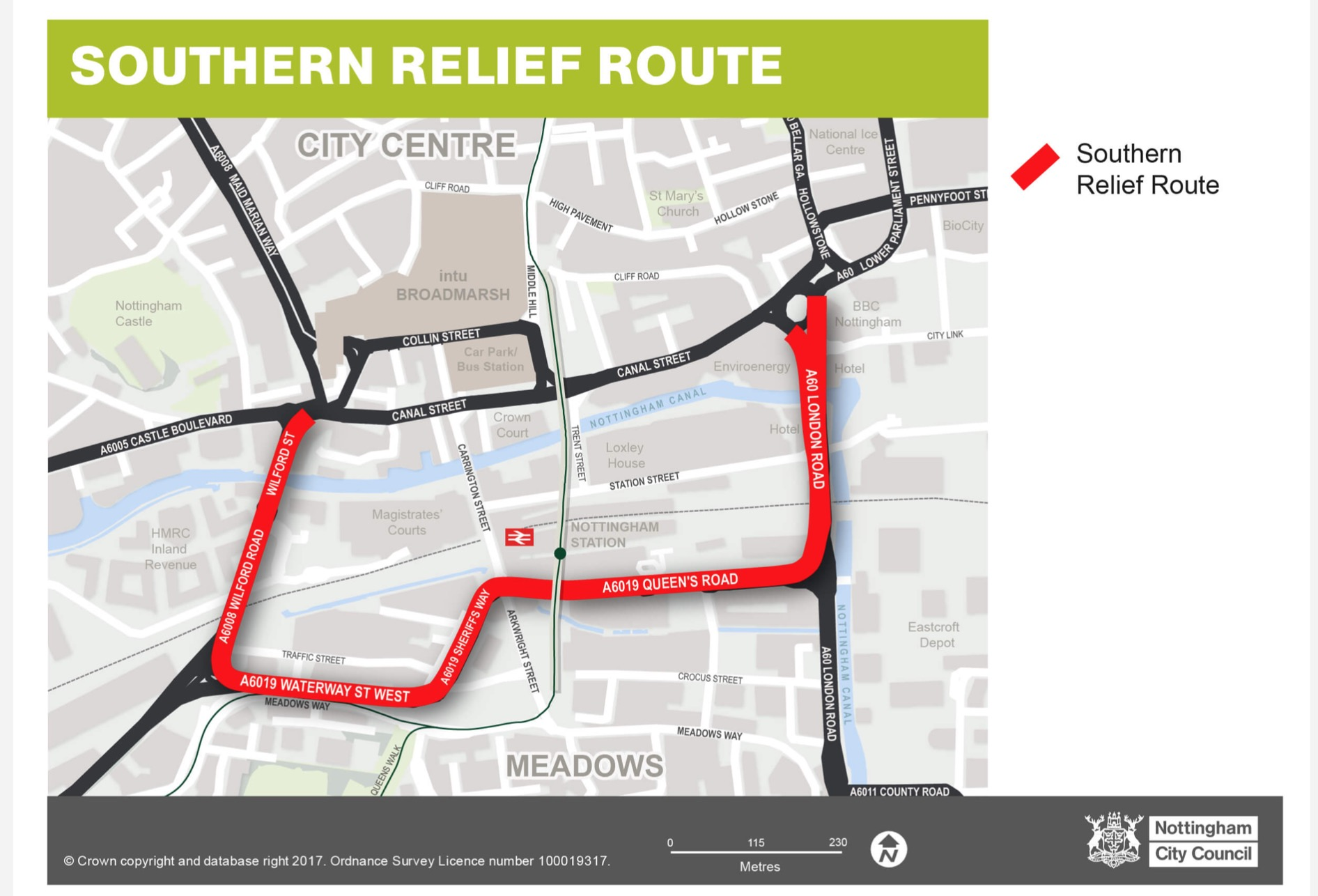 Nottingham Broadmarsh Road Layout Switch