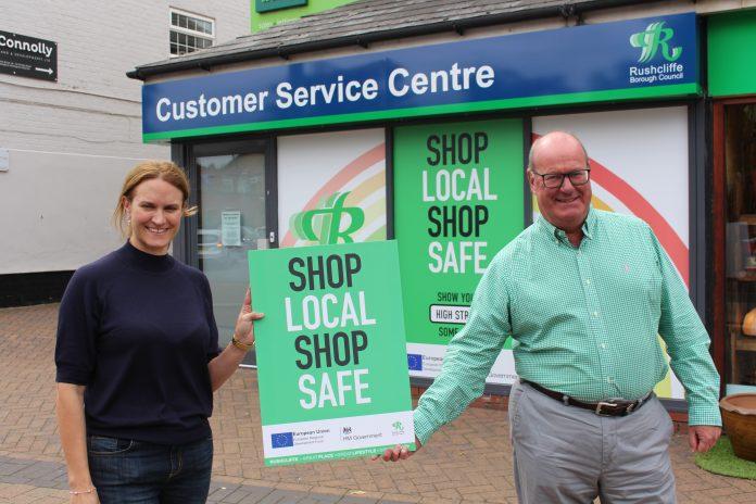 Business owner Rachel Hyman and Cllr Andy Edyvean say Shop Local Shop Safe