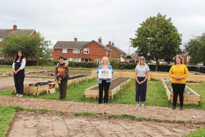 Cllr Debbie Mason met with volunteers and members of the Cotgrave Super Kitchen at the Community Garden