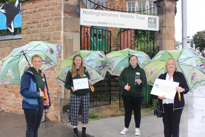 Laura Bacon Ellie and Jade from Nottinghamshire Wildlife Trust with their Celebrating Rushcliffe Award from 2019 and Cllr Debbie Mason