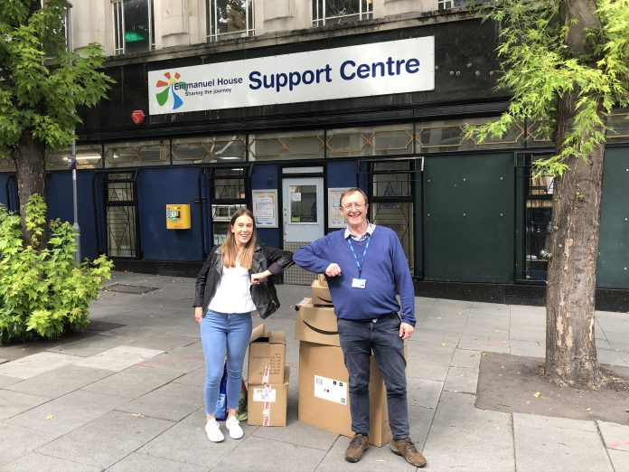 THRIVE Learning COO Emma Layton with Emmanuel House CEO Denis Tully