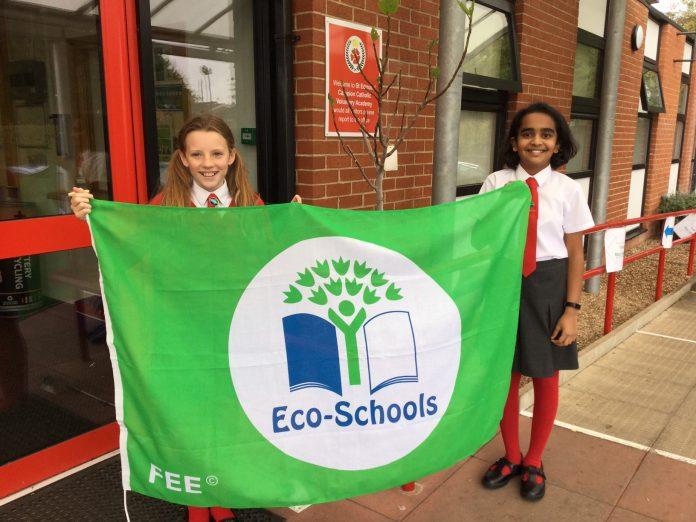 St Edmunds Campion Eco Schools accolade L R Chino Anand and Natasha Hayes