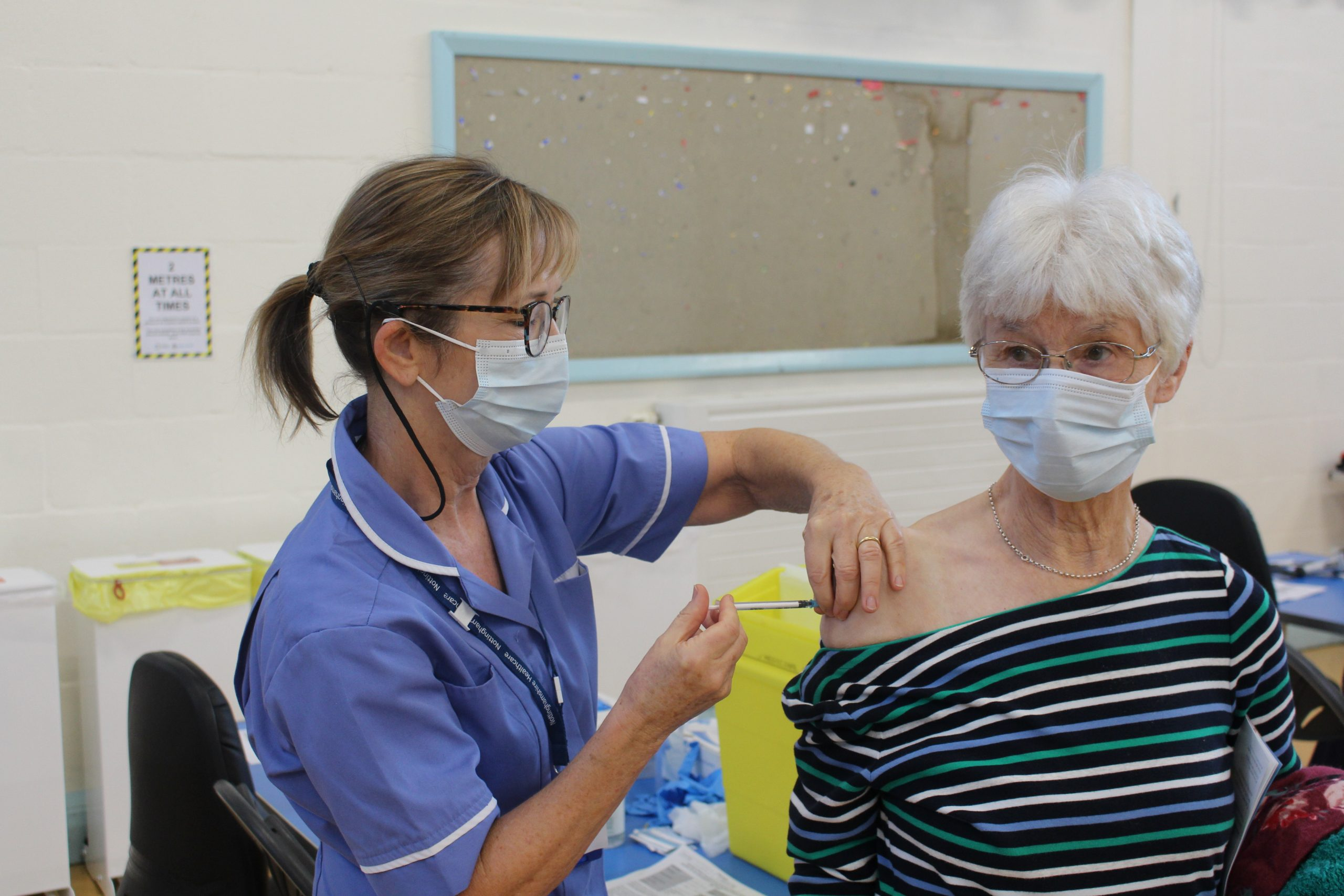 West Bridgford resident Wendy Wain was among the first to receive the jab from nurse Jacqui Cooper scaled