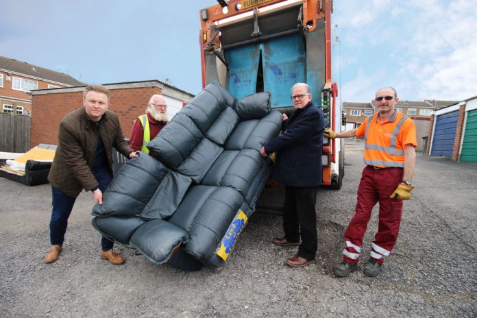 John Clarke and Michael Payne at launch of bulky waste scheme