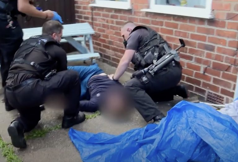 Video: Notts Police firearms officers save man's life after dramatic fall from top floor window