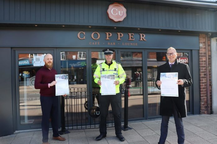 Copper General Manager Joel Tait Insp Craig Berry and Rushcliffe Borough Council's Dave Banks with the new hospitality guide for secure reopening