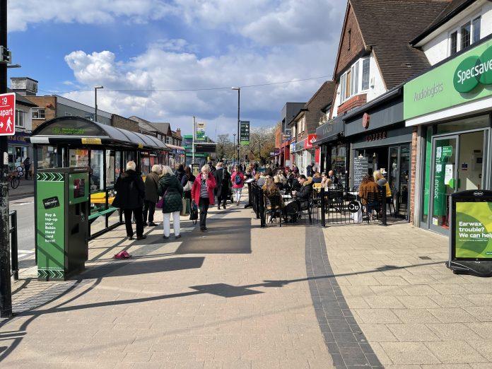 Central Avenue 12 April 2021 as shops and bars reopen ©westbridgfordwire.com