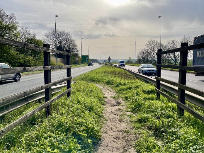 A refuge used for pedestrians and cyclists to cross the A52 ©westbridgfordwire.com