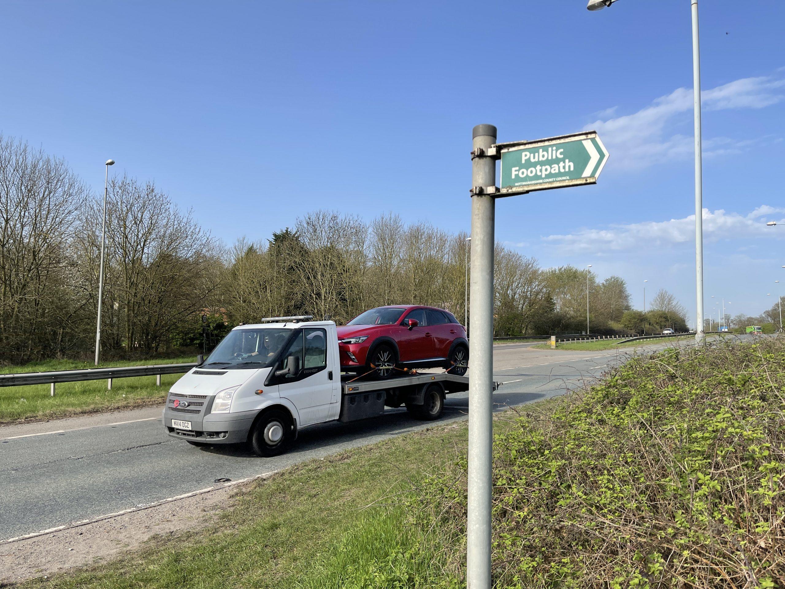 Public Footpath signs near the A52 ©westbridgfordwire.com